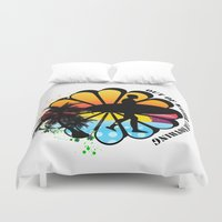 surfing Duvet Covers featuring Surfing by mark ashkenazi