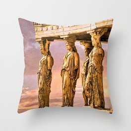 Porch of the Caryatids, Temple of Athena, Acropolis, Greece Portrait Painting Throw Pillow