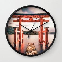 Hakone, onsen, Japan watercolor painting  Wall Clock