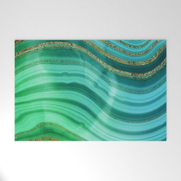 Ocean Blue And Green Mermaid Glamour Marble Welcome Mat