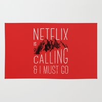 the mountains are calling Area & Throw Rugs featuring Netflix is calling by Zeke Tucker