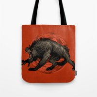 werewolf Tote Bags featuring werewolf by panthervogel