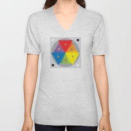 Color wheel by Dennis Weber / Shreddy Studio with special clock version Unisex V-Neck