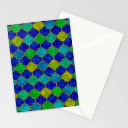 Ocean Breeze -Watercolor Moroccan Lattice Stationery Cards