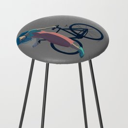 Bicycle Blue Hair Girl Counter Stool