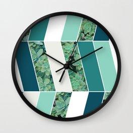 Teal Herringbone #society6 #teal #succulent Wall Clock