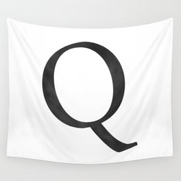 Letter Q Initial Monogram Black and White Wall Tapestry