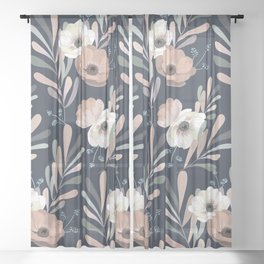 Anemones & Olives blue Sheer Curtain