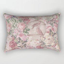 Romantic Flower Pattern And Birdcage Rectangular Pillow