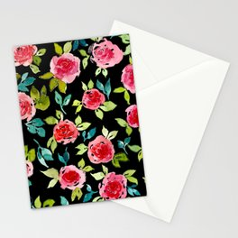 Roses Pattern Pink Teal Stationery Cards