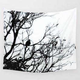 Dove Bird & Winter tree Silhouette Wall Tapestry