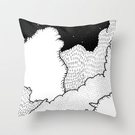 The moon over the clouds Throw Pillow