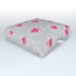 White Hibiscus flowers pattern Outdoor Floor Cushion