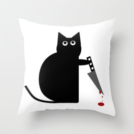 Stabby Cat Throw Pillow