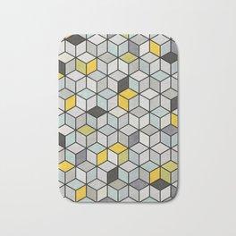 Colorful Concrete Cubes - Yellow, Blue, Grey Bath Mat