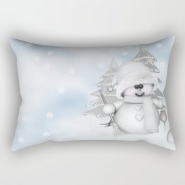 White Snowman Rectangular Pillow