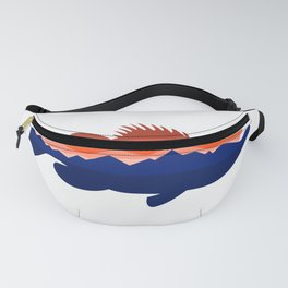 Largemouth Bass Mountains Silhouette Retro Fanny Pack