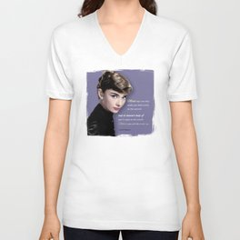 Movie star art - Audrey Hepburn Unisex V-Neck