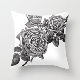 Engraved Roses Illustration Throw Pillow
