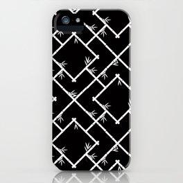 Bamboo Chinoiserie Lattice in Black + White iPhone Case