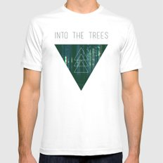 Into The Trees MEDIUM White Mens Fitted Tee