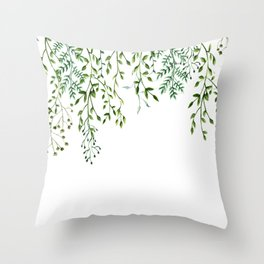 Watercolor Vines Throw Pillow