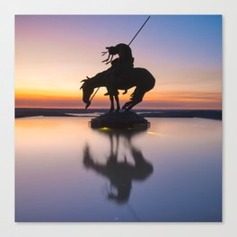 Top of the Rock Native American Statue Silhouette Reflections Canvas Print