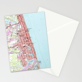Vintage Map of Virginia Beach (1965) 2 Stationery Cards