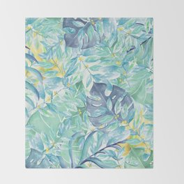Modern teal green yellow watercolor tropical leaves Throw Blanket