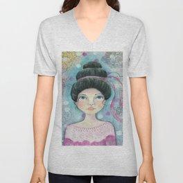 Lady in Pink Unisex V-Neck