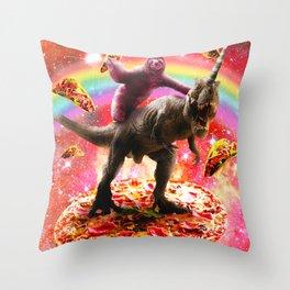 Space Sloth Riding Dinosaur Unicorn - Pizza & Taco Throw Pillow