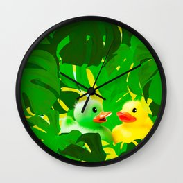 Small Rubber Ducks with Large Monstera Leaves #decor #society6 #buyart Wall Clock