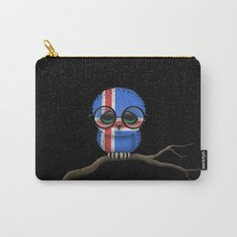 Baby Owl with Glasses and Icelandic Flag Carry-All Pouch