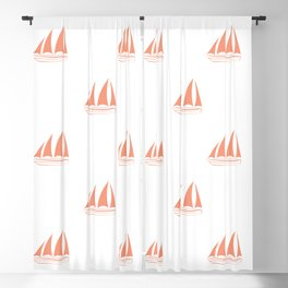 Coral Sailboat Pattern Blackout Curtain