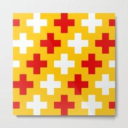 Red Yellow White Cross Metal Print