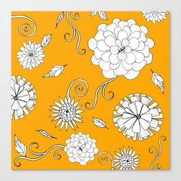 Sunny Crazy Daisy pattern Canvas Print