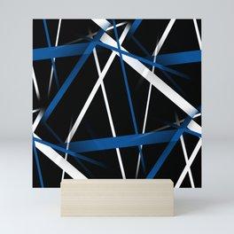 Seamless Blue and White Stripes on A Black Background Mini Art Print