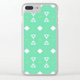 Geo Triangle Sea Green 3 Clear iPhone Case