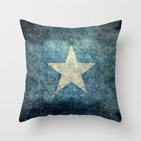 islam Throw Pillows featuring Somalian national flag - Vintage version by Bruce Stanfield