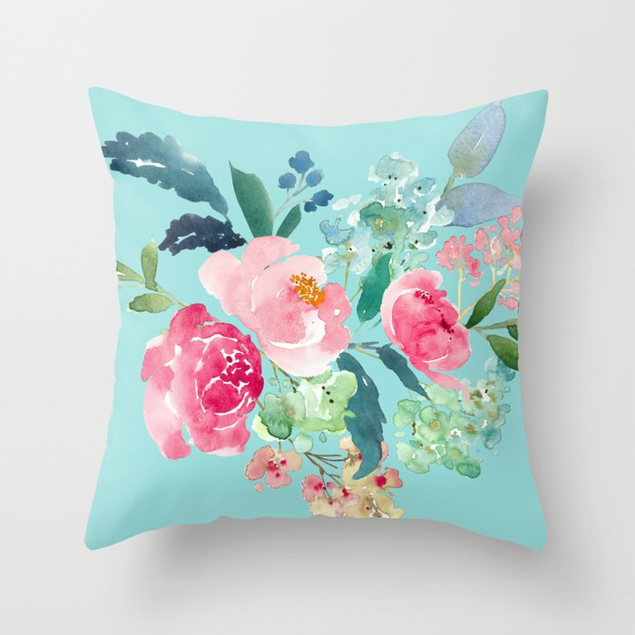 Muted Blue And Floral Red: Aqua Blue And Pink Floral Watercolor Throw Pillow By