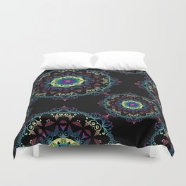 Abstract mandala-pattern on the black background Duvet Cover