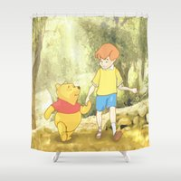 pooh Shower Curtains featuring WINNIE THE POOH by DisPrints