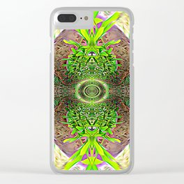 Vibrating Greenery Clear iPhone Case