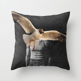 Man with Bird Throw Pillow