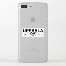 Uppsala, Uppsala County GPS Coordinates Map Artwork Clear iPhone Case