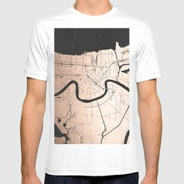 New Orleans Rose Gold and Black Map T-shirt