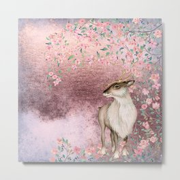 Deer in Cherry Blossom Spring Woods Metal Print