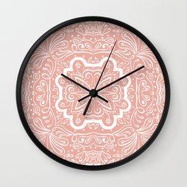 Marilla Detailed Tile Pattern Peach & White Wall Clock