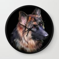 german shepherd Wall Clocks featuring German Shepherd by Julie Hoddinott