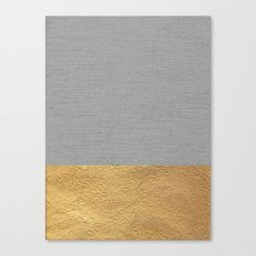 Color Blocked Gold & Grey Canvas Print
